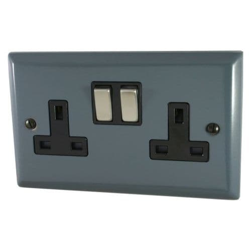G&H SDG310 Spectrum Plate Dark Grey 2 Gang Double 13A Switched Plug Socket